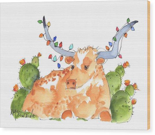 Longhorn Christmas Wood Print