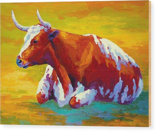 Longhorn Cow Wood Print
