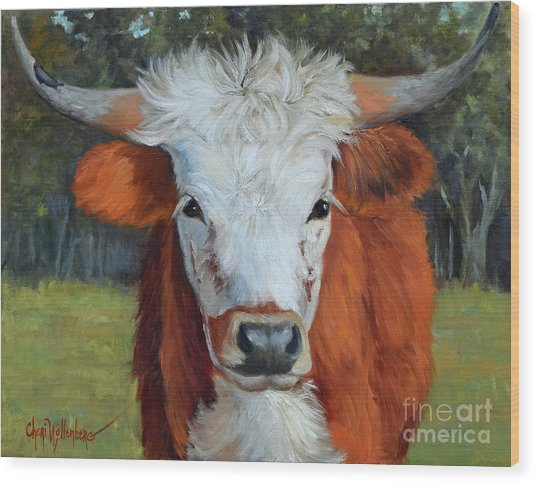 Longhorn Cow Painting II, Ms Tilly  Wood Print