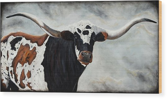 Wood Print featuring the painting Longhorn by Dede Koll