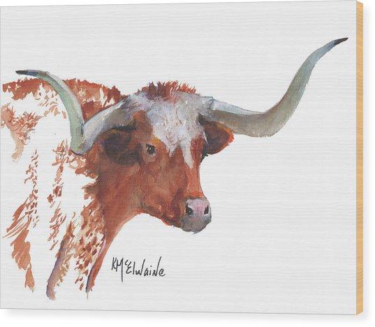 A Texas Longhorn Portrait Wood Print