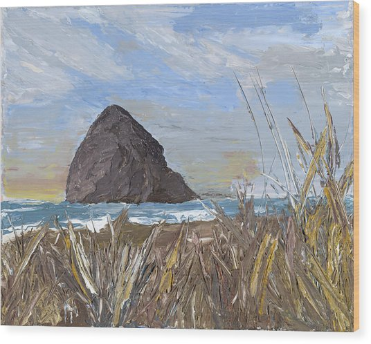 Longing For The Sounds Of Haystack Rock Wood Print