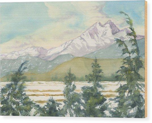 Long's Peak From Longmont Wood Print