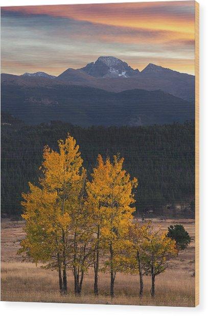 Longs Peak From Moraine Park - Fall Wood Print by Aaron Spong