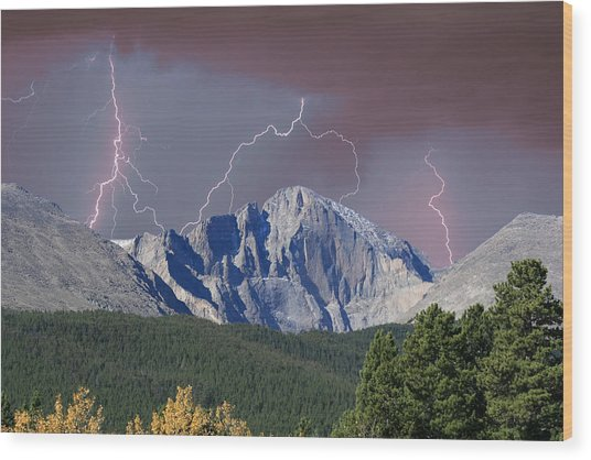 Longs Peak Lightning Storm Fine Art Photography Print Wood Print