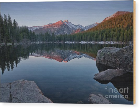 Longs Peak Reflection On Bear Lake Wood Print