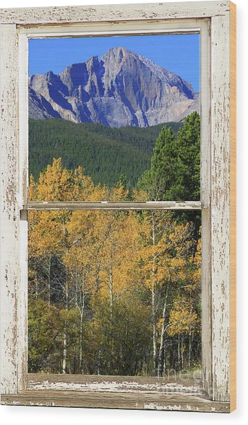 Longs Peak Window View Wood Print