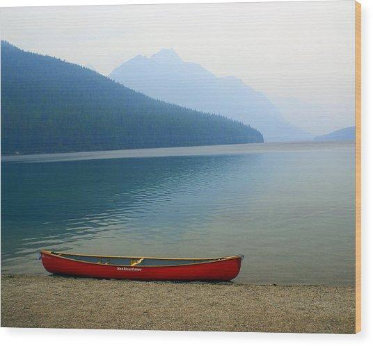 Lonly Canoe Wood Print