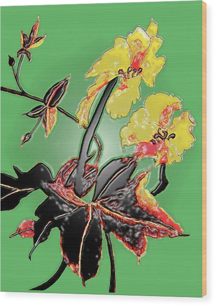 Loofah Gourd Flower - Three Dimensional Wood Print