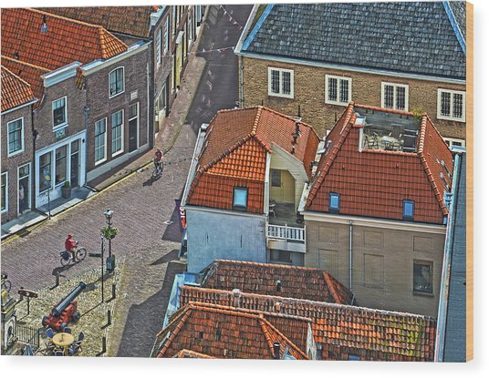 Looking Down From The Church Tower In Brielle Wood Print
