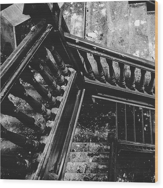 Looking Down Old Staircase Wood Print by Dylan Murphy