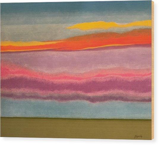 Looking East At Dusk Avon By The Sea Wood Print by Harvey Rogosin