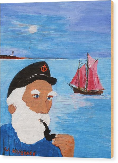 Looking For His Ship To Come In Wood Print