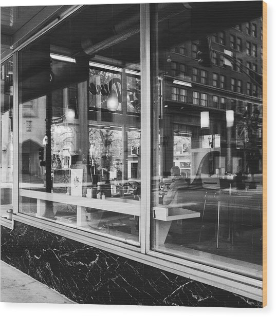 Looking Into A Diner. Black And White Street Photography. Wood Print by Dylan Murphy