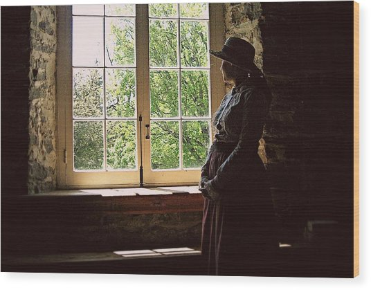 Looking Out Of The Window Wood Print
