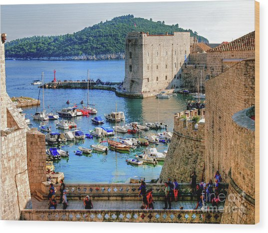 Looking Out Onto Dubrovnik Harbour Wood Print