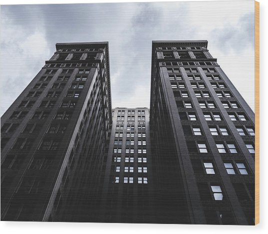 Looking Up At Building In St. Louis Wood Print by Dylan Murphy