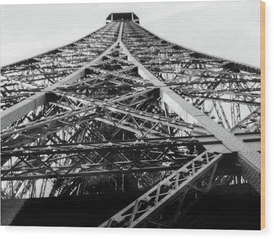 Looking Up From The Eiffel Tower Wood Print