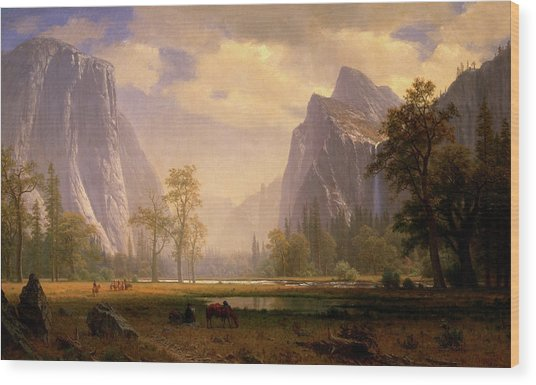Looking Up The Yosemite Valley  Wood Print