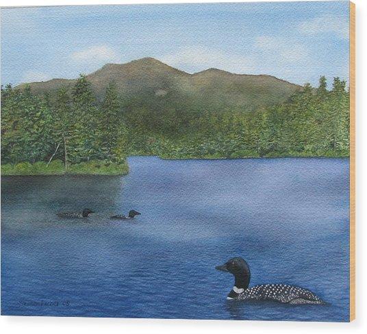 Loon Lake Wood Print by Sharon Farber