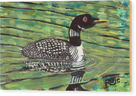 Loon Wood Print by Robert Wolverton Jr