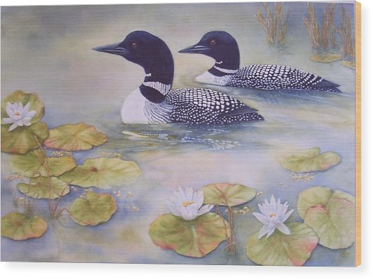 Loons In The Lilies Wood Print by Cherry Woodbury