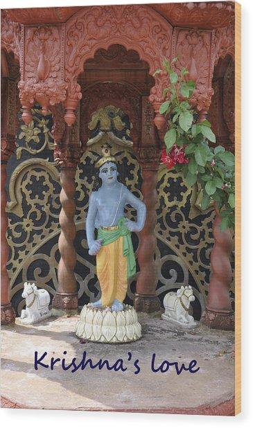 Lord Krishna Wood Print by Vijay Sharon Govender