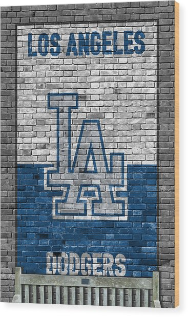 Los Angeles Dodgers Brick Wall Wood Print