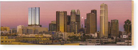Los Angeles Moonrise 2014 Wood Print