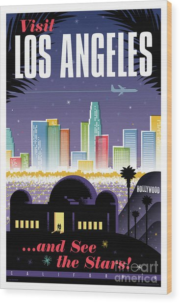 Los Angeles Retro Travel Poster Wood Print