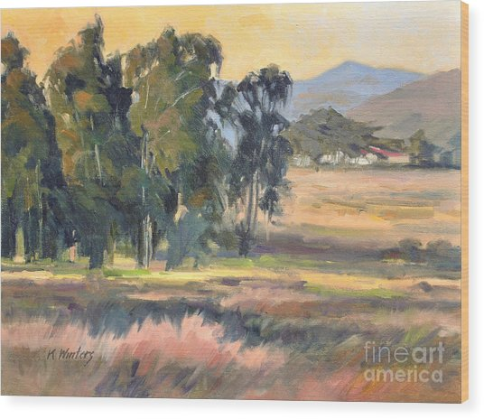 Los Osos Valley - For The Love Of The Land - California Landscape Painting Wood Print by Karen Winters