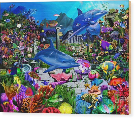 Lost Undersea World Wood Print