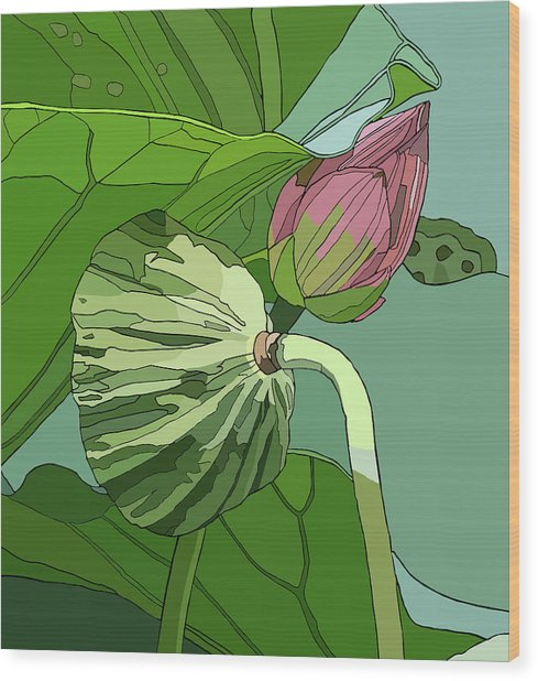 Lotus And Bud Wood Print