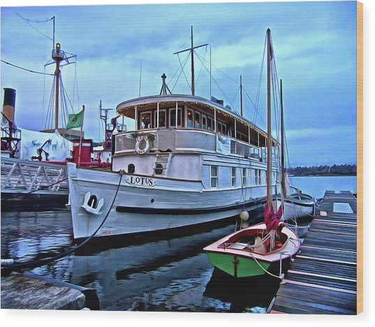 Wood Print featuring the photograph Lotus And The Dinghies by Thom Zehrfeld