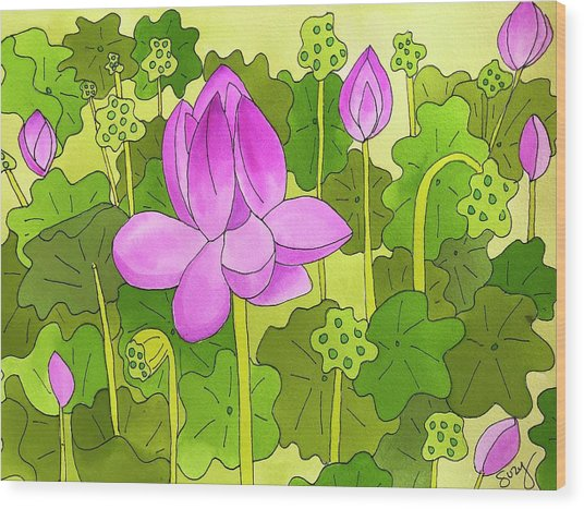 Lotus And Waterlilies Wood Print