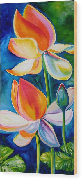 Lotus Blossoming Wood Print by Marcia Baldwin
