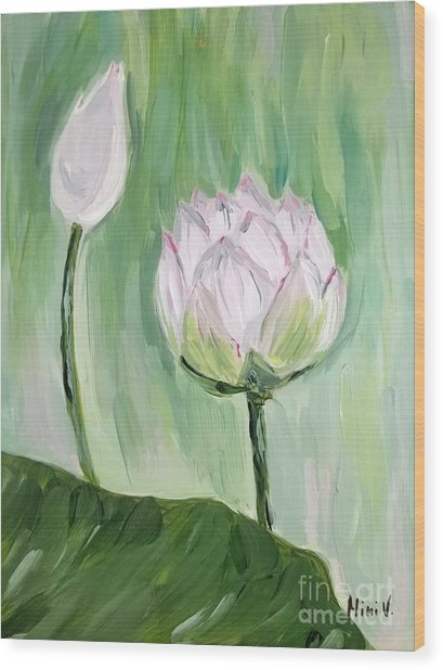 Lotus Emerging Wood Print