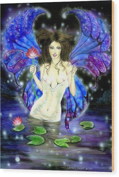 Lotus Goddess Fairy Wood Print by Carmen Daspit