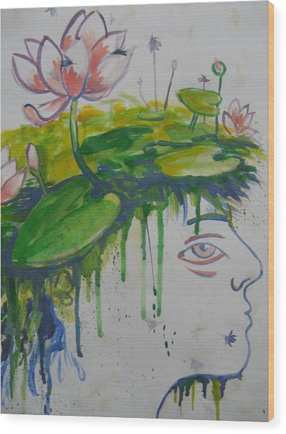 Lotus Head Wood Print