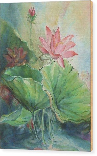 Lotus Of Hamakua Wood Print by Wendy Wiese