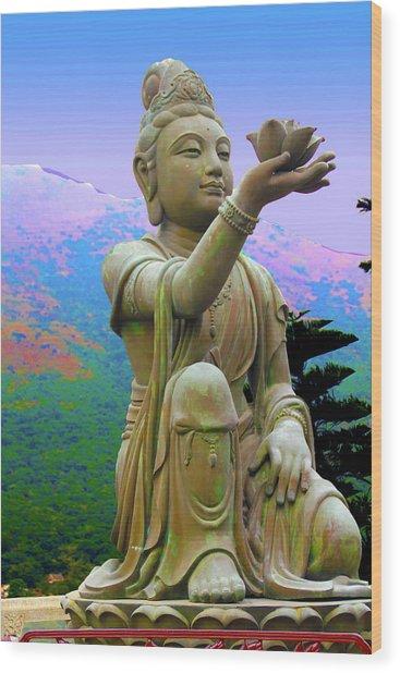 Lotus Statue Wood Print by Adina Campbell