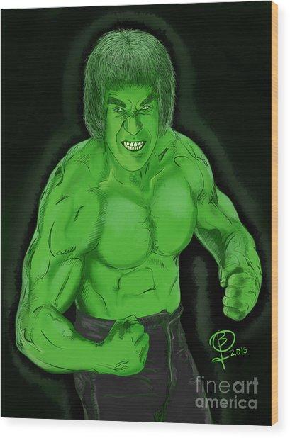 Lou Ferrigno's Hulk Wood Print by Joseph Burke