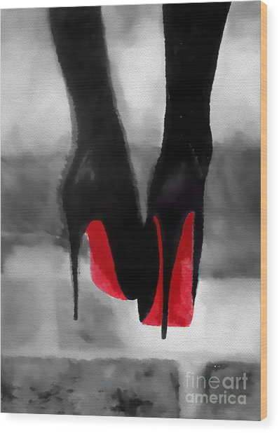 Louboutin At Midnight Black And White Wood Print