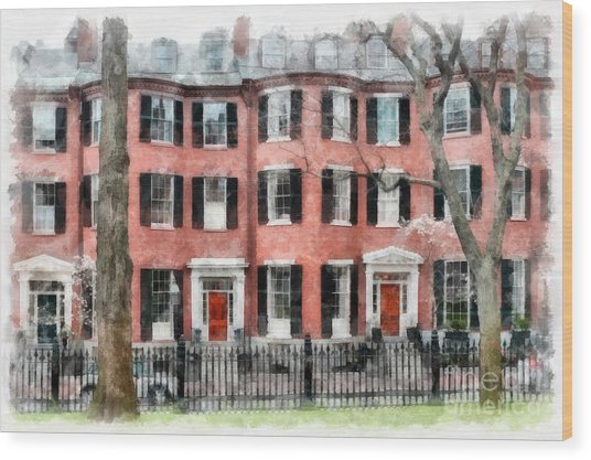 Louisburg Square Beacon Hill Boston Wood Print