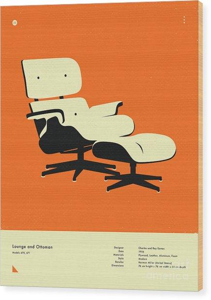 Lounge And Ottoman 1956 Wood Print