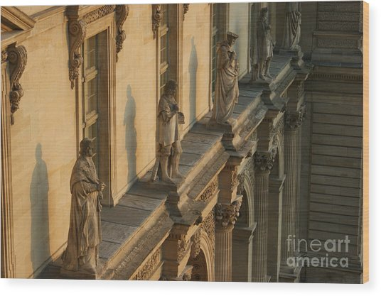 Louvre Exterior Wood Print by Christine Jepsen
