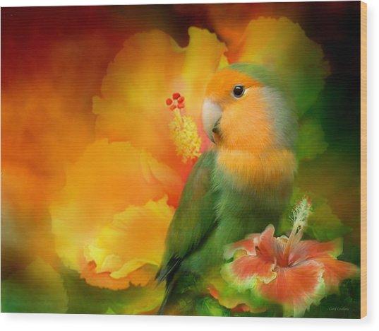 Love Among The Hibiscus Wood Print