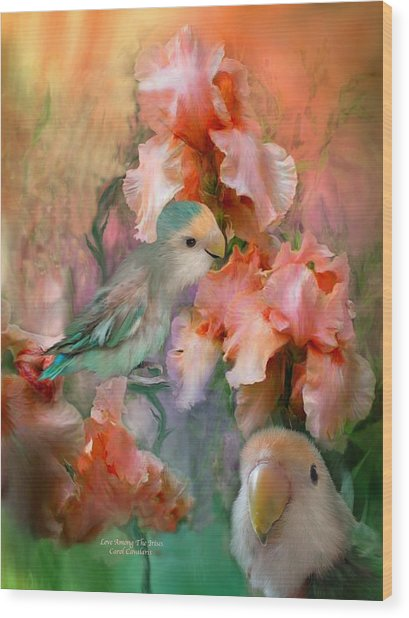 Love Among The Irises Wood Print