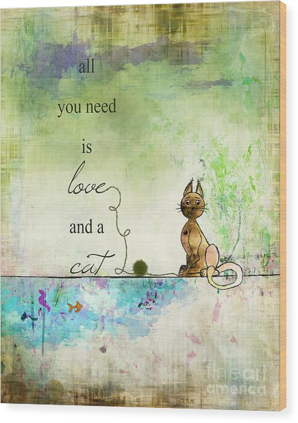Love And A Cat Ginkelmier Wood Print