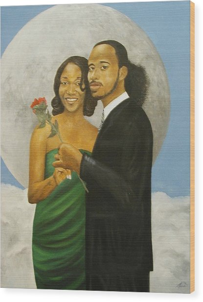 Love At Full Moon Wood Print by Angelo Thomas